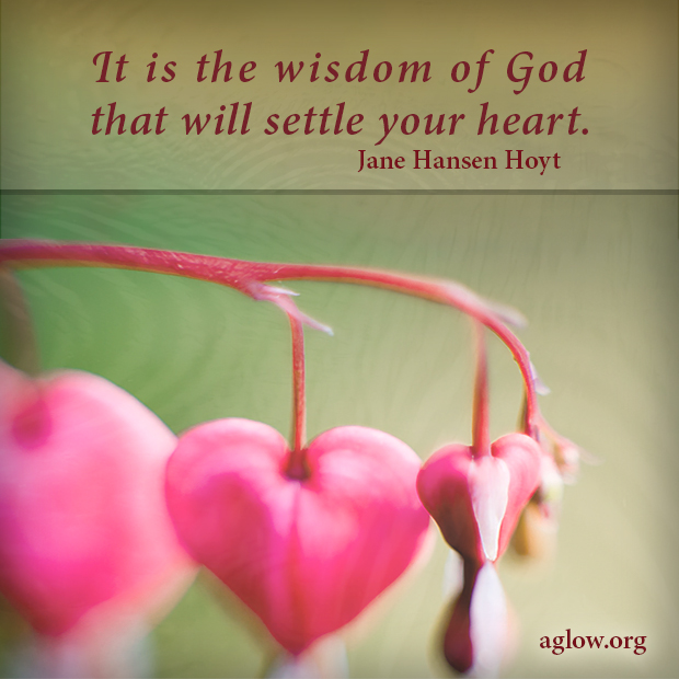 It is the wisdom of God that will settle our hearts.